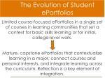 the evolution of student eportfolios