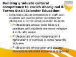 building graduate cultural competence to enrich aboriginal torres strait islander education