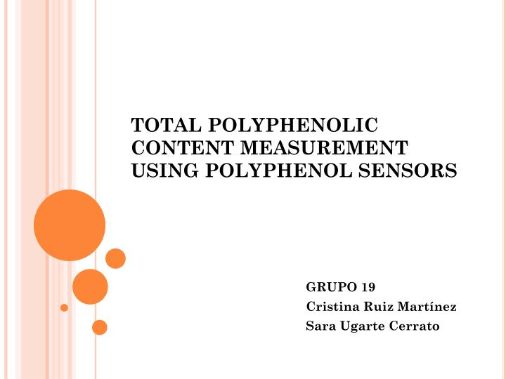 total polyphenolic content measurement using polyphenol sensors n.