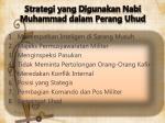 strategi yang d igunakan nabi muhammad dalam perang uhud