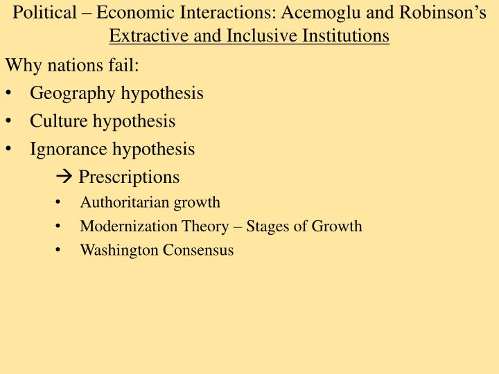 political economic interactions acemoglu and robinson s extractive and inclusive institutions n.