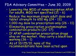 fda advisory committee june 30 2009