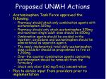 proposed unmh actions