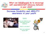 what can you parent do to encourage self awareness self advocacy behavior in your child