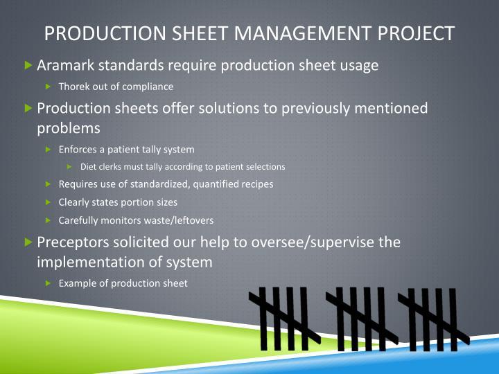 Production sheet management project