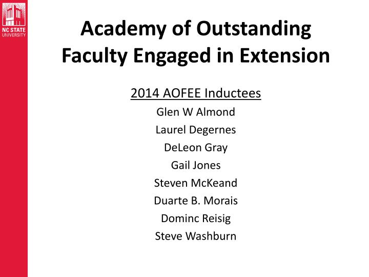 Academy of Outstanding Faculty Engaged in Extension