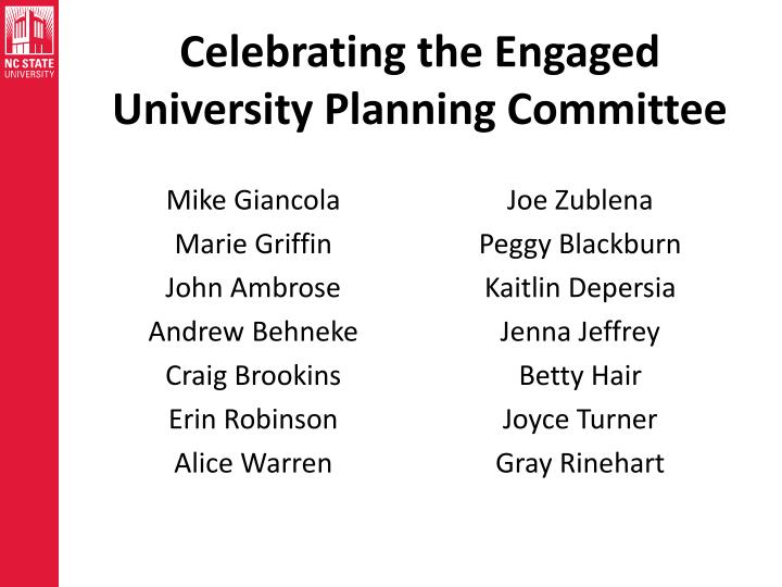 Celebrating the Engaged University Planning Committee