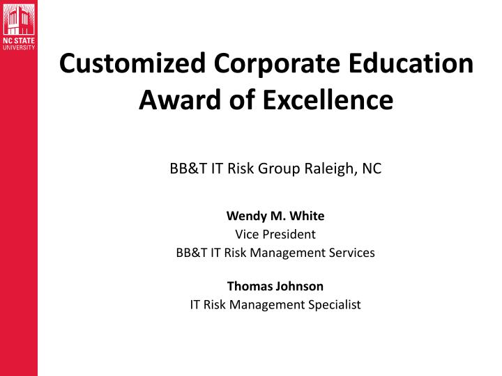 Customized Corporate Education Award of Excellence