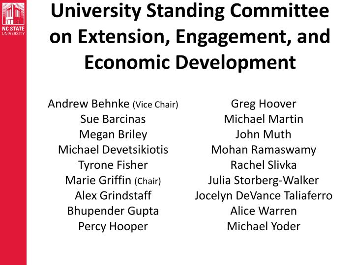 University Standing Committee on Extension, Engagement, and Economic Development