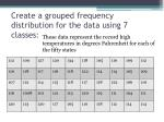 create a grouped frequency distribution for the data using 7 classes