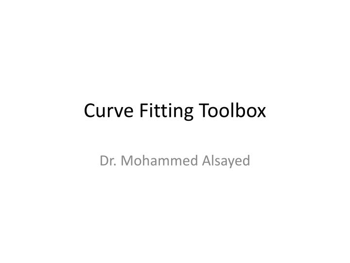 curve fitting toolbox n.