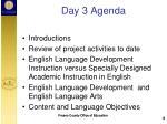 day 3 agenda