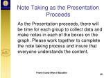 note taking as the presentation proceeds