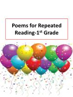 poems for repeated reading 1 st grade
