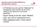 exporting results to endnote reference manager other software