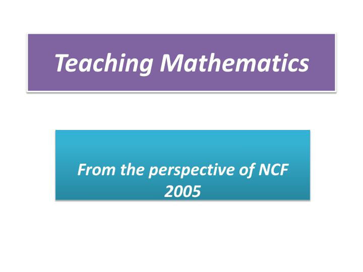 teaching mathematics n.