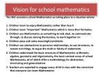 vision for school mathematics