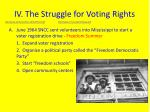 iv the struggle for voting rights