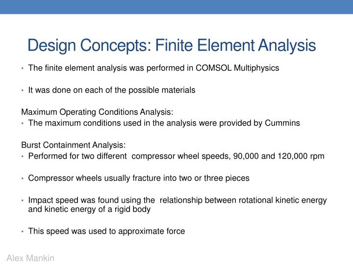 Design Concepts: Finite Element Analysis
