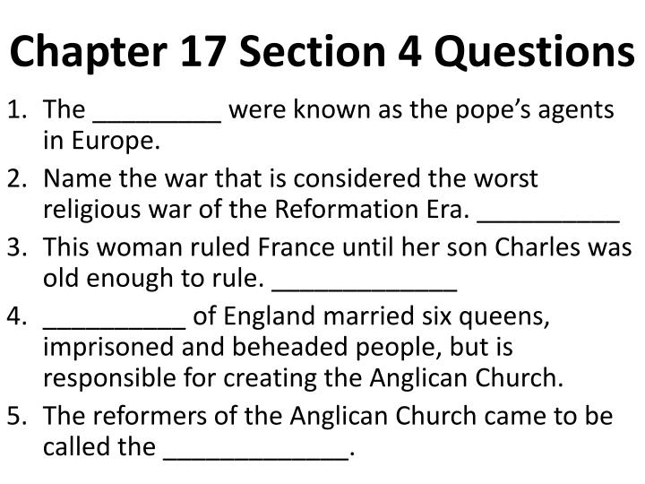 chapter 17 section 4 questions n.