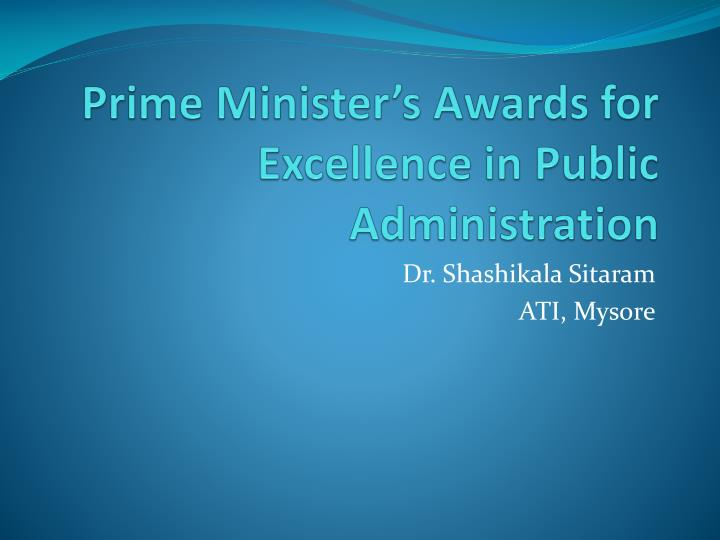prime minister s awards for excellence in public administration n.