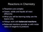 reactions in chemistry