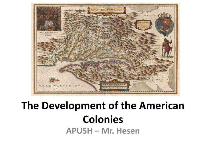 the development of the american colonies n.