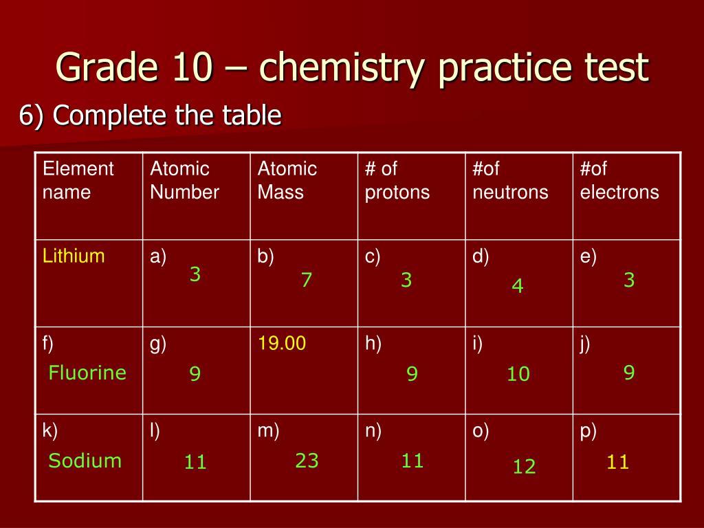 PPT - Grade 10 – chemistry pre-quiz PowerPoint Presentation - ID:2207022