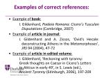 examples of correct references