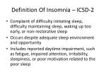 definition o f insomnia icsd 2