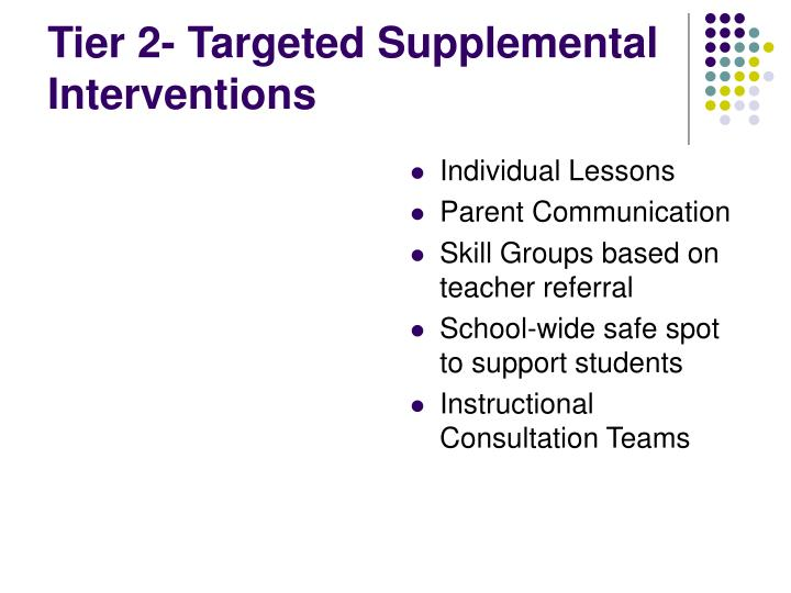 Tier 2- Targeted Supplemental Interventions