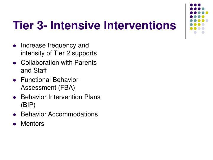 Tier 3- Intensive Interventions