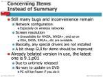 concerning items i nstead of summary