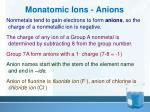 monatomic ions anions