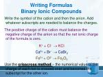 writing formulas binary ionic compounds