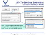 air to surface selection production unit cost t1 uc1000