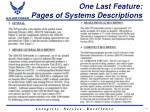 one last feature pages of systems descriptions