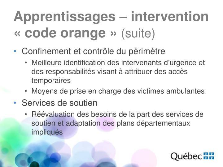 Apprentissages – intervention