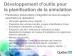 d veloppement d outils pour la planification de la simulation