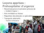 le ons apprises pr hospitalier d urgence