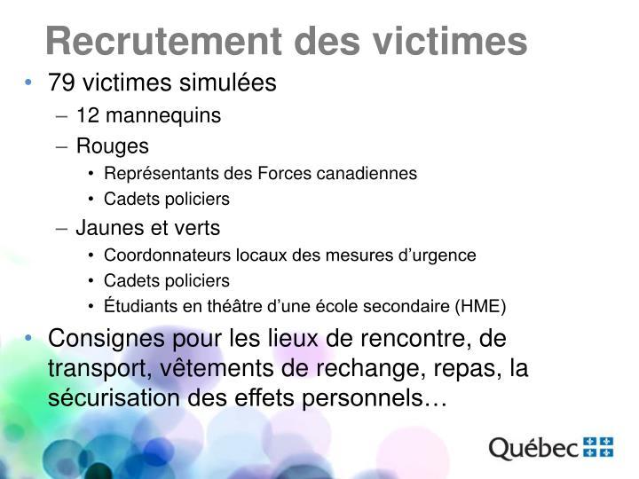 Recrutement des victimes