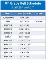 8 th grade bell schedule april 23 rd and 24 th