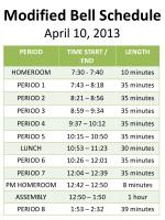 modified bell schedule april 10 2013