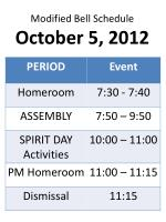 modified bell schedule october 5 2012