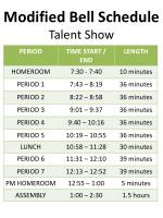 modified bell schedule talent show
