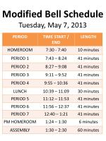 modified bell schedule tuesday may 7 2013