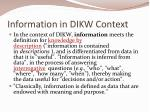 information in dikw context