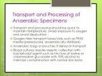 transport and processing of anaerobic specimens