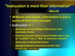i nstruction is more than information merrill