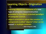 learning objects origination